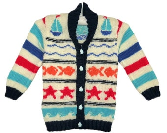 Seaside jacket child's knitting pattern.  Ages 1-7 years.  Double knitting (8 ply) yarn.