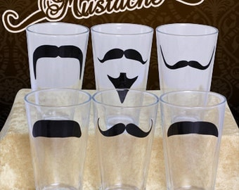 Mustache Pint Glass set- Set of 6 Glasses