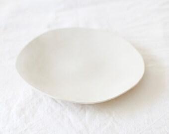 Handmade White Ceramic Plate