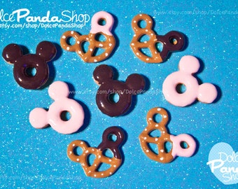 8pc Cute Sweet Donut and Pretzel Mouse Flat Back Resin Cabochon 25x20mm Kawaii  DIY Decoden Decora Deco Sweets
