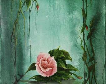Rose Pink Floral Original Oil/Acrylic Painting  16in x 20in