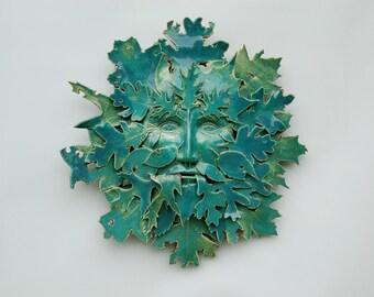 """Green Man clay wall sculpture indoor outdoor """"Decadent Man"""""""