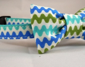 Cat Collar and Bow Tie - Blue-Green Chevron