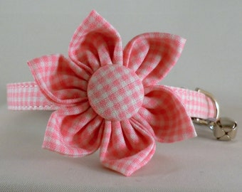 Cat Collar or Kitten Collar with Flower or Bow Tie - Pink Gingham