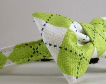 Cat Collar and Bow Tie or Flower - Green and White Argyle