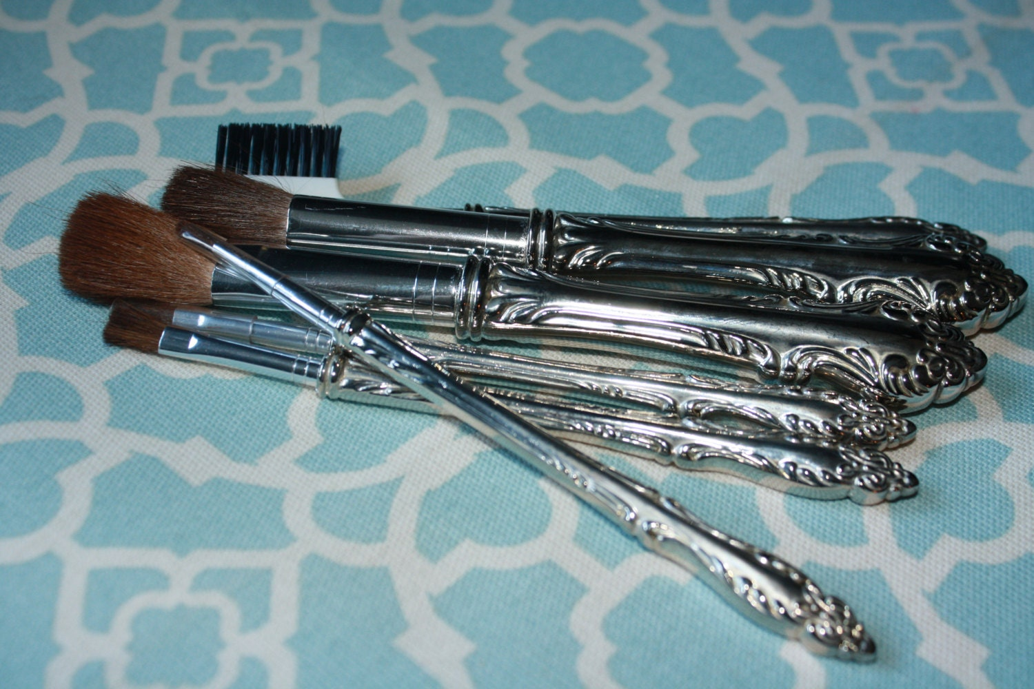 Vintage Sterling Plated Silverware Makeup Brushes Set Of 6