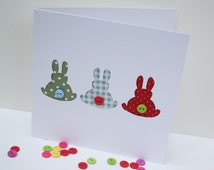 3 Little Bunnies Card - Rabbit Card, Easter Card - with Button Tails - Paper Cut Handmade Greeting Card