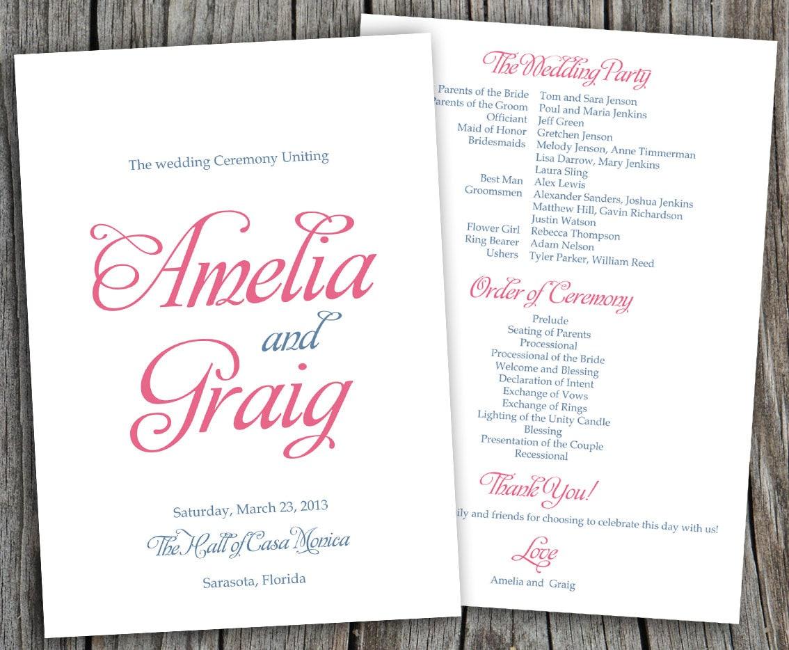 amelia wedding program fans diy program by ladypoppydesigns