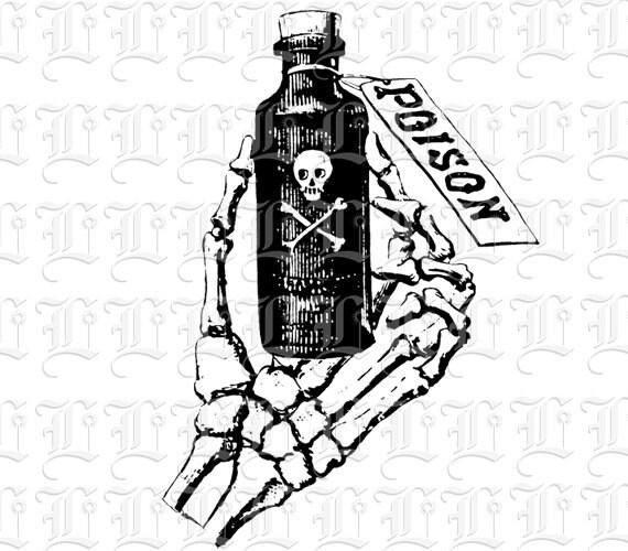 Skeleton Hand Holding Poison Bottle Symbol Vintage Clip Art