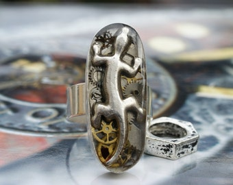 Handmade Sterling silver steampunk ring with lizard and watchparts