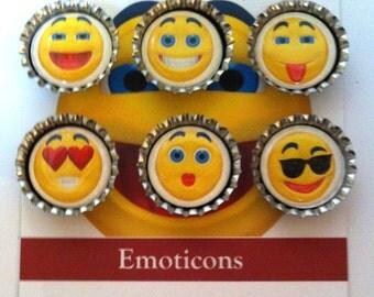 Bottle Cap Magnets -- Emoticons