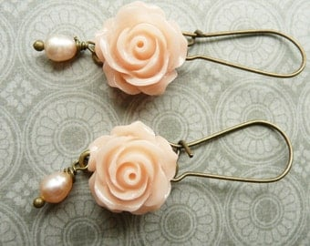 Earrings, pale pink resin rose and pearl dangle earrings No. 108