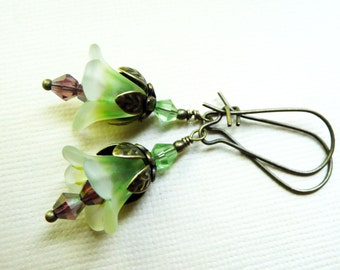 50% OFF SALE! Earrings, green ombre and purple lucite flower dangle earrings No. 149
