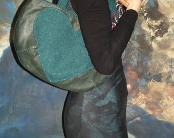 Small/Medium Over the Shoulder Turquoise Harris Tweed and Green Leather Bag With Heart
