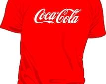 Coca Cola Coke drink shirt t-shirt tshirt red black white classic old vintage