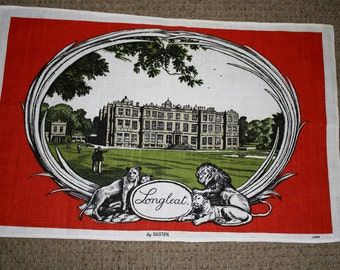 Tea Towel Retro Longleat Lions Red