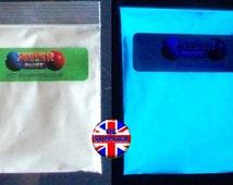 20g. Glow in the dark Aqua pigment powder. Extra fine particle size