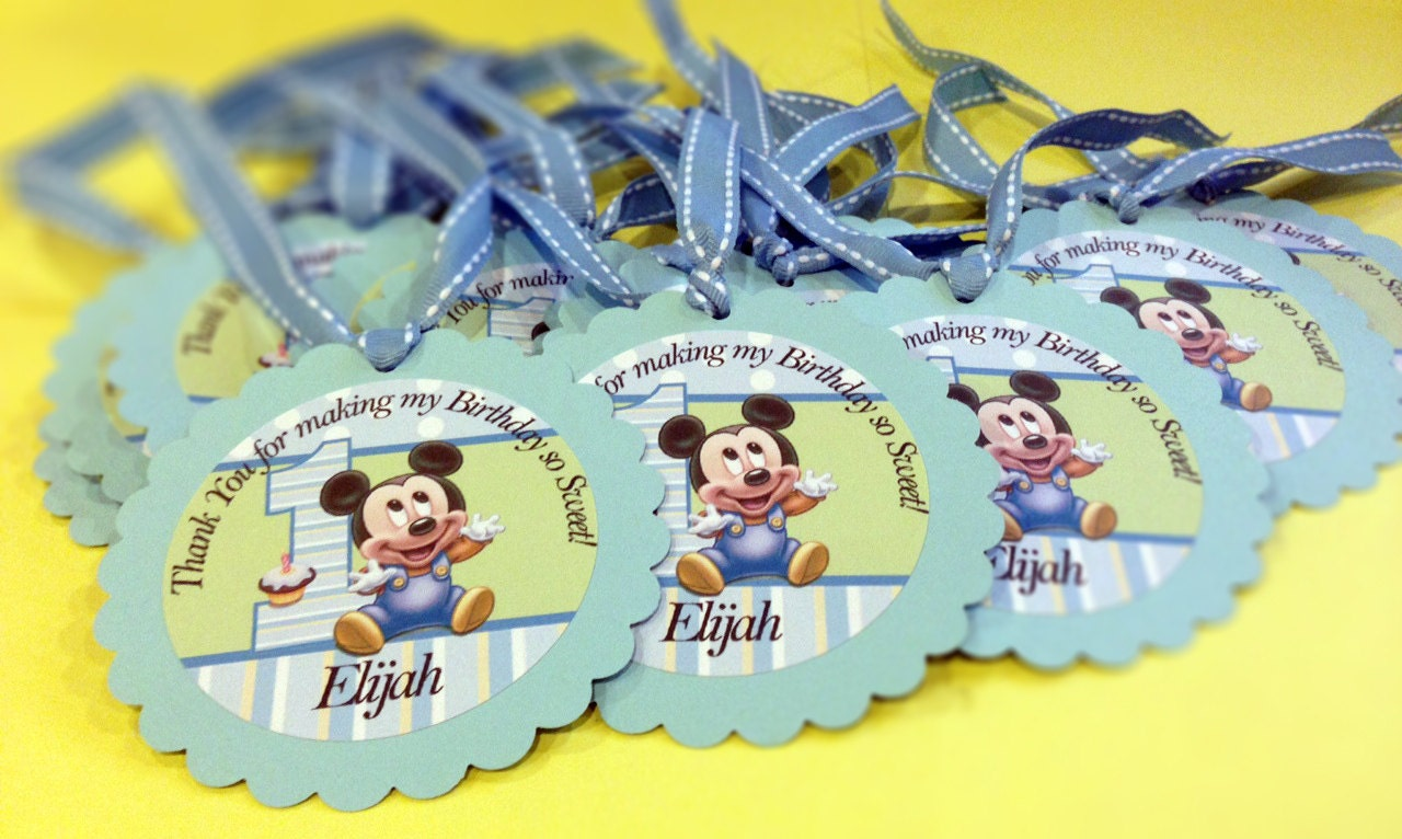 Baby mickey mouse 1st birthday 3 favor tags for by paperdazzle for Baby mickey mouse decoration
