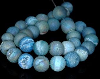 Pretty Blue Pixie Dust Druzy Round Druzy Loose Beads 14mm Full Strand B88DR9526