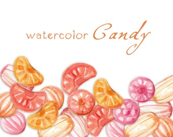 Digital Clipart, Watercolor Candy, Watercolor, Sweets