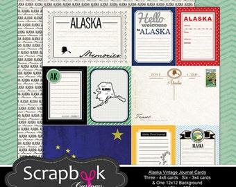 Alaska Journal Cards. Digital Scrapbooking. Project Life. Instant Download.