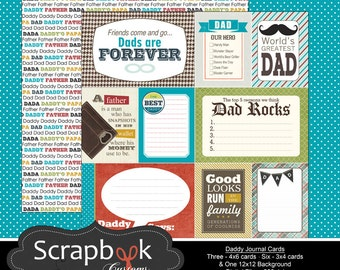 Dad Journal Cards. Digital Scrapbooking. Project Life. Instant Download.