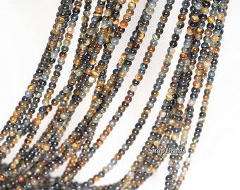 2mm Twilight Blue Tiger Eye Gemstone Round 2mm Loose Beads 16 inch Full Strand (90113624-107 - 2mm C)