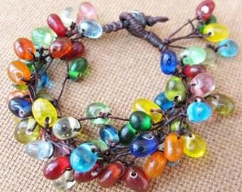 Colourful Glass Bead Cluster Bracelet