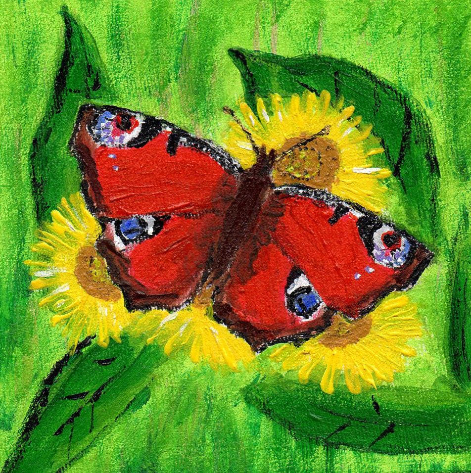 Small Painting Peacock Butterfly Acrylic Painting Gift