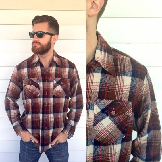 Vintage men 39 s flannel shirt brown plaid hipster style for How to wear men s flannel shirts