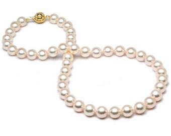 Akoya pearl necklace with 18KT Gold Clasp - 8-8.5mm - Akoya Pearl Necklace - Pearl Necklace - Fine Pearl Necklace - 18 inch Necklace