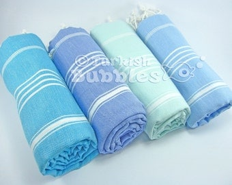 S A L E, Towel Set of 4, Handmade Turkish Towel, Peshtemal, Turkish Beach Towels, Exclusive Quality Turkish Cotton Towel, Wedding Gift