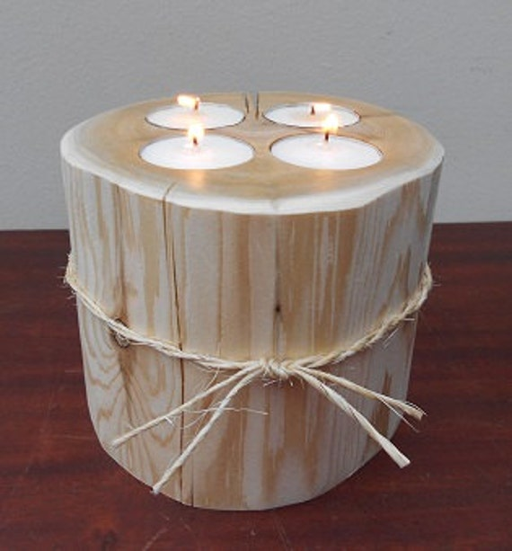 Rustic candle holder four tea light candles by alongtheridge