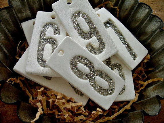 german glass glitter number tags, porcelain clay glitter numbers, wedding table number tags