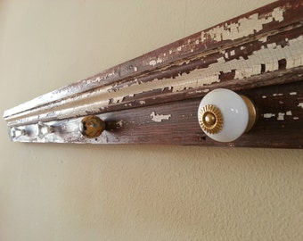 Reclaimed painted wood, ceramic and glass knobs rack