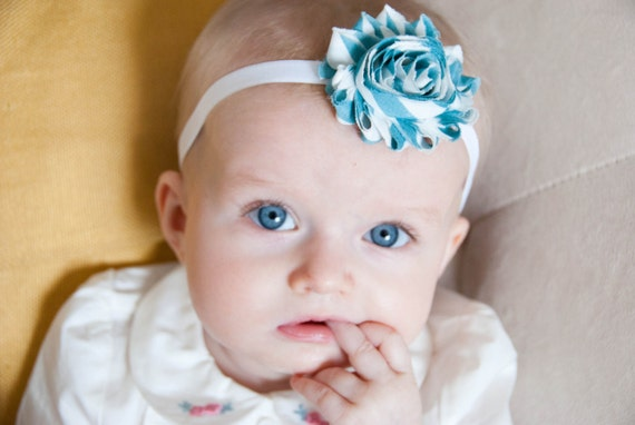 Baby Girl Turquoise Aqua Chevron Headband - Photo Prop - Baby Toddler Headband