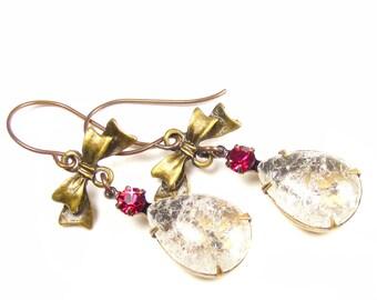 Vintage Crackle Glass Drop Earrings, Handmade Vintage Style Jewellery, Crystal Statement Earrings