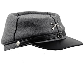 American Civil War cap - kepi style replica with black leather visor and gray wool crown.