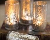 Antiqued Mercury Glass Tea Light Candle Holders - Set of 3