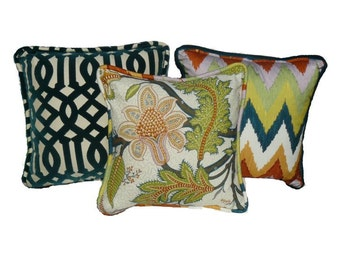 This listing is for one 20 x 20 Sinhala Bittersweet pillow cover (Middle Pillow) Pattern on BOTH SIDES