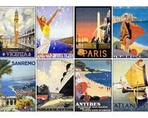 Vintage Travel Posters - ACEO Hang Tag Jewelry Card  2.5x3.5 - digital INSTANT DOWNLOAD printable image 4008