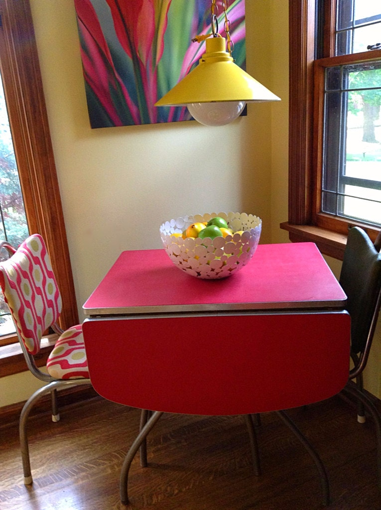 sold to nancy1950's red formica top table and two chairs