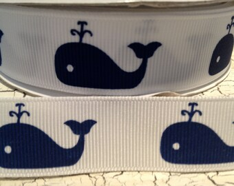 "1 yard PREPPY 7/8"" Nautical Navy WHALES on WHITE Grosgrain Ribbon"
