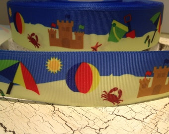 """1.5"""" Beach Themed Grosgrain ribbon sold by the yards"""