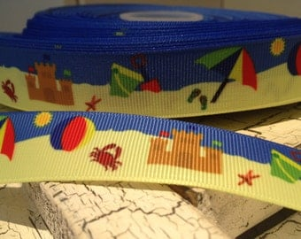 """7/8"""" Beach Themed Grosgrain ribbon sold by the yards"""