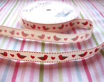 16mm Red Birds and Hearts Grosgrain Ribbon