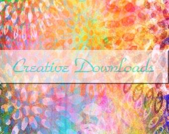Burst digital collage printable download flowers print flowers download garden download garden print  colorful Robin Mead