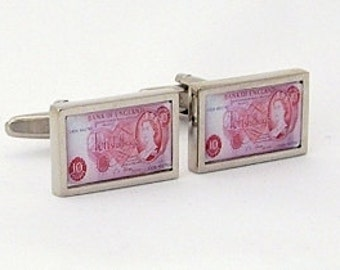 Vintage English 10 Shilling banknote Cufflinks from an original image