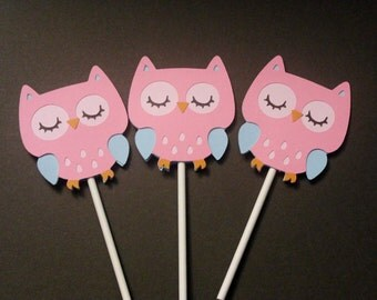 Pink and Blue Owl Cupcake Toppers
