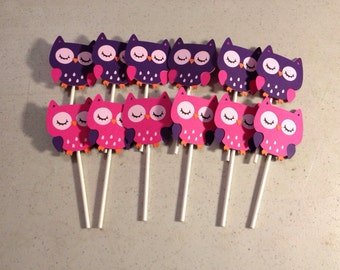 Hot pink and dark purple Owl Cupcake Toppers